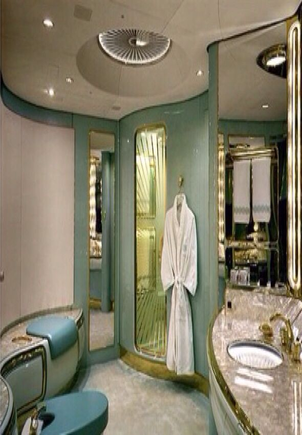 Luxury bathroom in a private jet luxury lifestyle for Private jet bathroom
