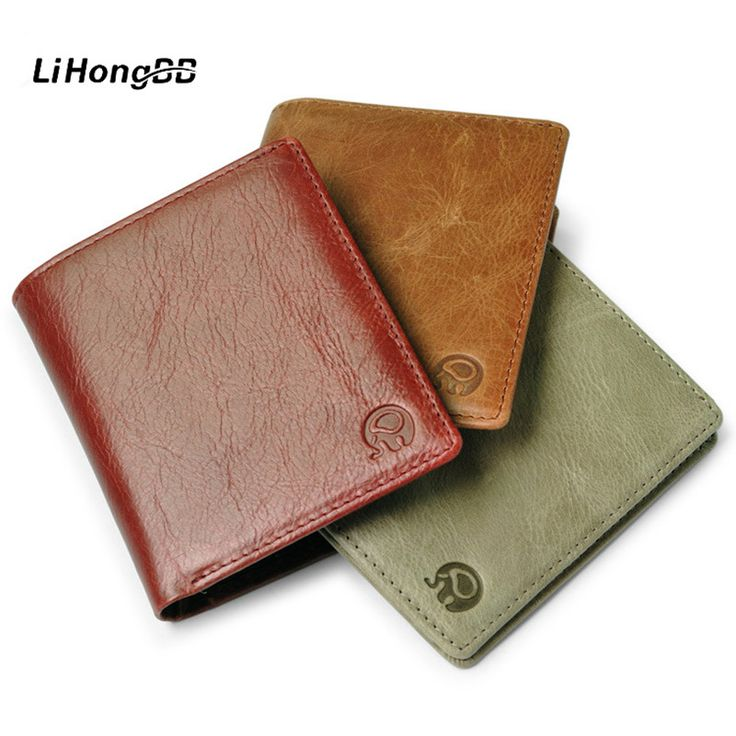 Casual Genuine Leather Wallet For Men / Women Small Thin Card Holder Slim Wallets Mini Short Wallets Simple Vintage Purses