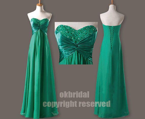 green prom dress long prom dress evening prom dresses by okbridal, $136.00
