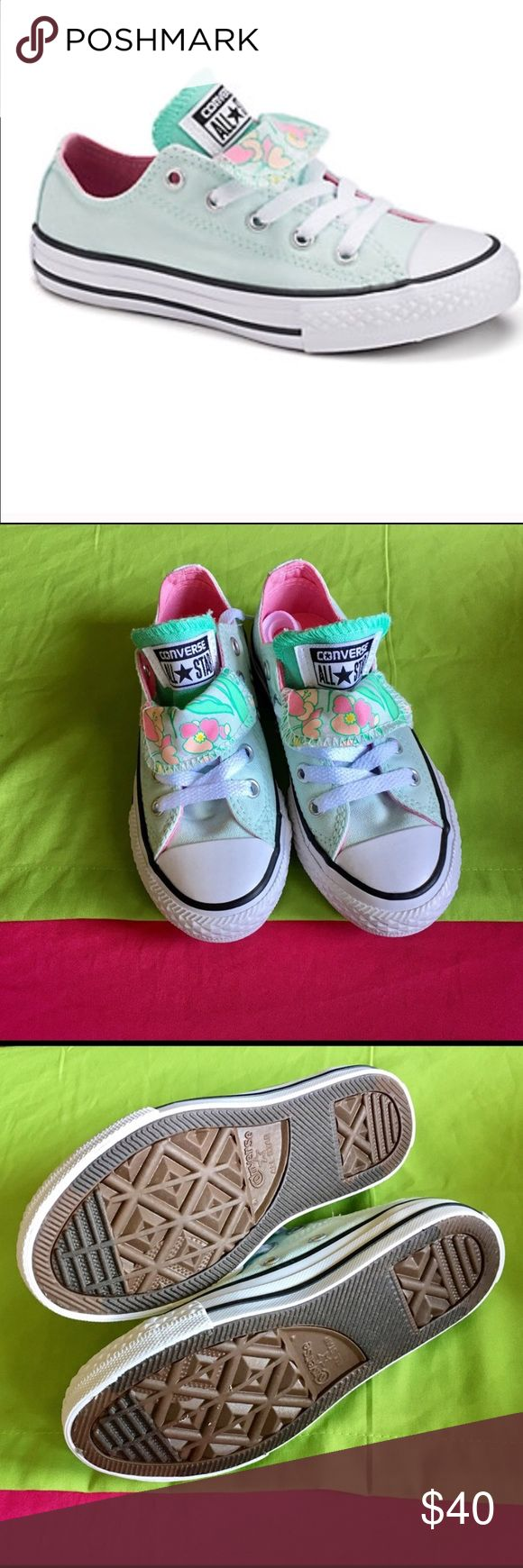 "All-Star converse for girls!! Converse Chuck Taylor All-star floral double tongue sneakers, size girls 11, color mint, pink and orange ""brand new"" Converse Shoes Sneakers"
