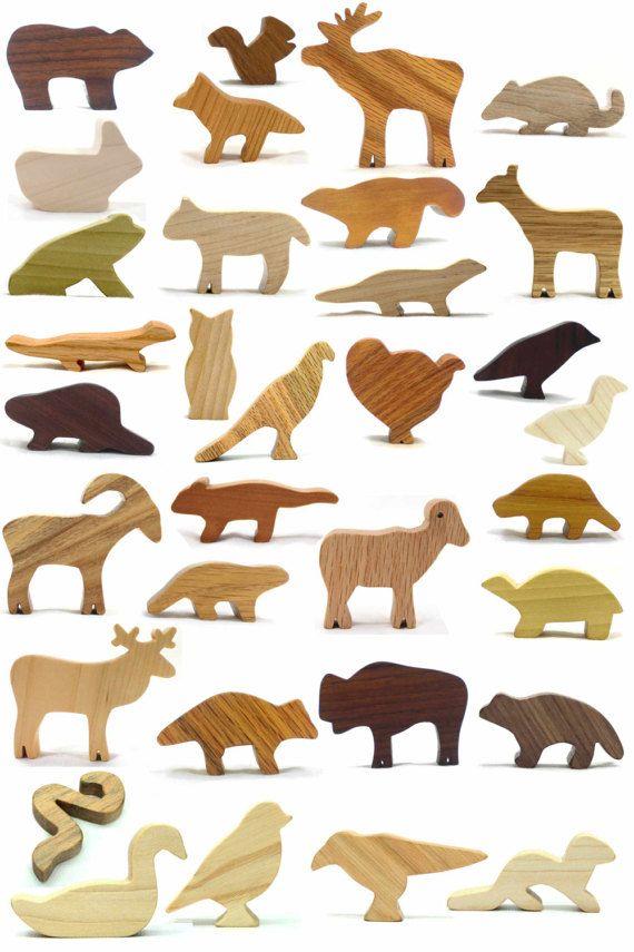 Woodland Animal Toys Set, Animal Menagarie, Grandkids Gift Noahs Ark Animals, Natural Wood Toy