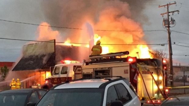 Crews battle the blaze at the single-storey building in Rouleau, Sask., the town popularized by the long-running sitcom Corner Gas. The building had served as a set for the show.