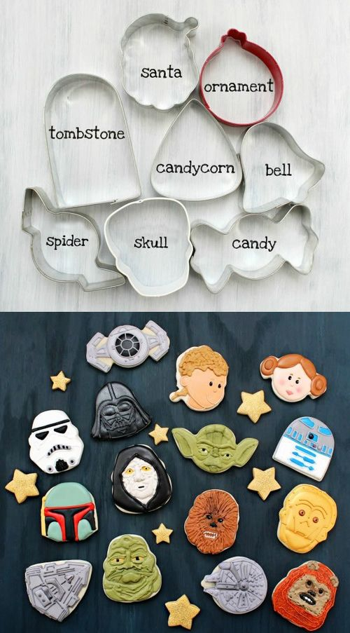 Holiday cookie cutters into Star Wars characters! I know who I'm making cookies for next...