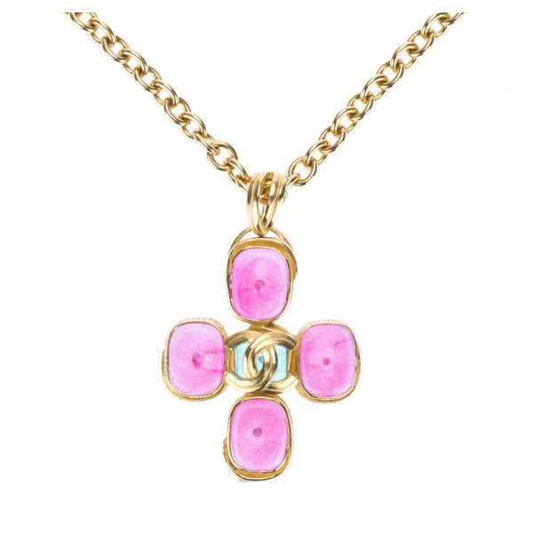 Pre-Owned Chanel Vintage Pink Gripoix Cc Logo Cross Pendant Necklace (2,710 NZD) ❤ liked on Polyvore featuring jewelry, necklaces, gold, cross necklace, cross pendant necklace, pink pendant necklace, tri color necklace and pink pendant