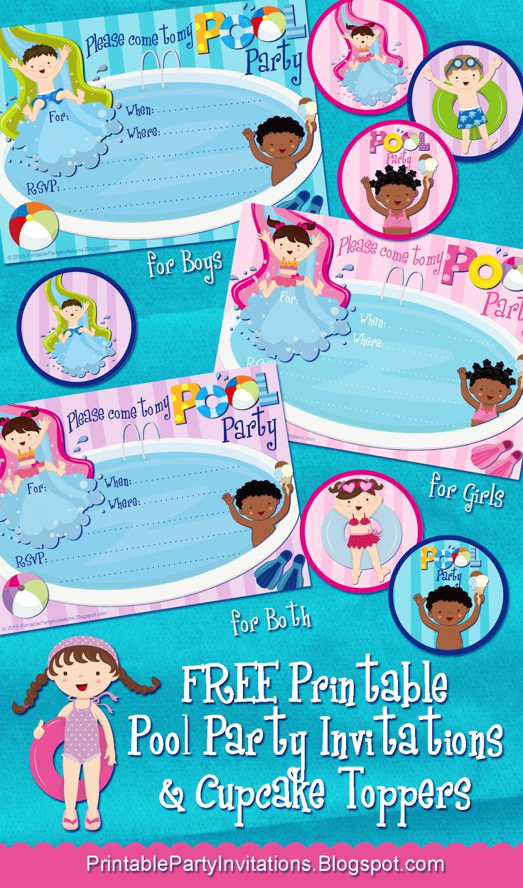 three free printable pool party invitations  plus cupcake