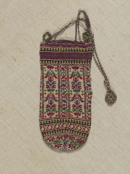 1850-1899. Purse. Knit. silk thread, metal thread. Persia. Acquired in Julfa, the Armenian suburb of Isphahan. Museum number T.224-1923. | V&A Search the Collections