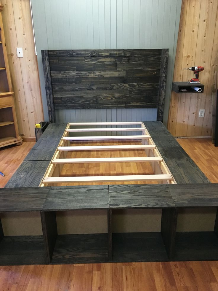 Our platform bed with pallet headboard | My creations ...
