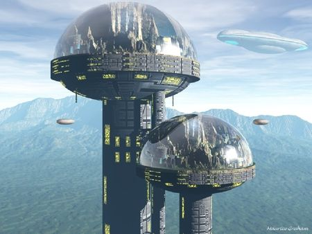 Domed cities on pedestals, is this what Mars is going to be like? I'm just imagining.