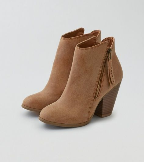 AEO Side Zip Heeled Bootie, Tan | American Eagle Outfitters