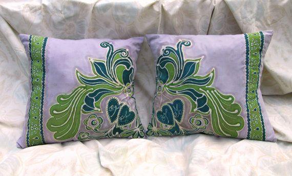 2 Vintage Art Nouveau Motif Hand Dyed Batik by BataviaDesign
