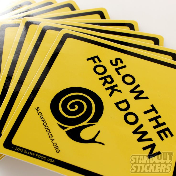 Square vinyl stickers for slow food usa