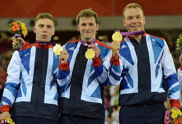 Britain's trio of Philip Hindes (left), Jason Kenny (centre) and Sir