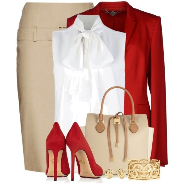 """Red, Nude & White For the Office"" by brendariley-1 on Polyvore"