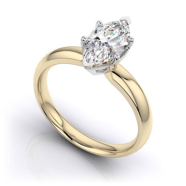 0.88 Ct marquise cut handmade designer diamond ring with duo-tone setting and band. Choice of 9K/14K/18K white, yellow and rose gold, platinum and palladium.  Product No: PY11007