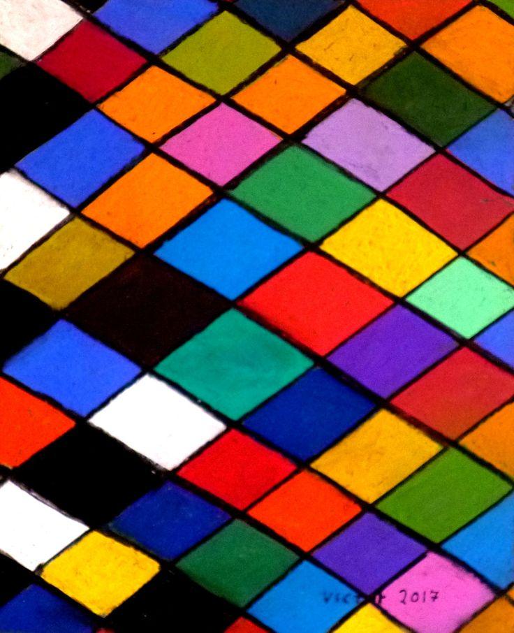Färgrutor, pastell. Color pieces, pastel.