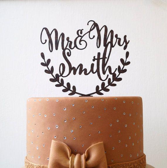 Mr et Mme custom topper gâteau, rustique wedding cake topper, personnalisé wedding cake topper, topper gâteau noms