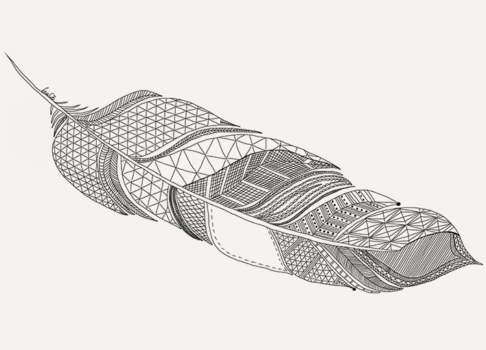 A feather with geometric patterns. Drawn by me, Ina Björkstedt.