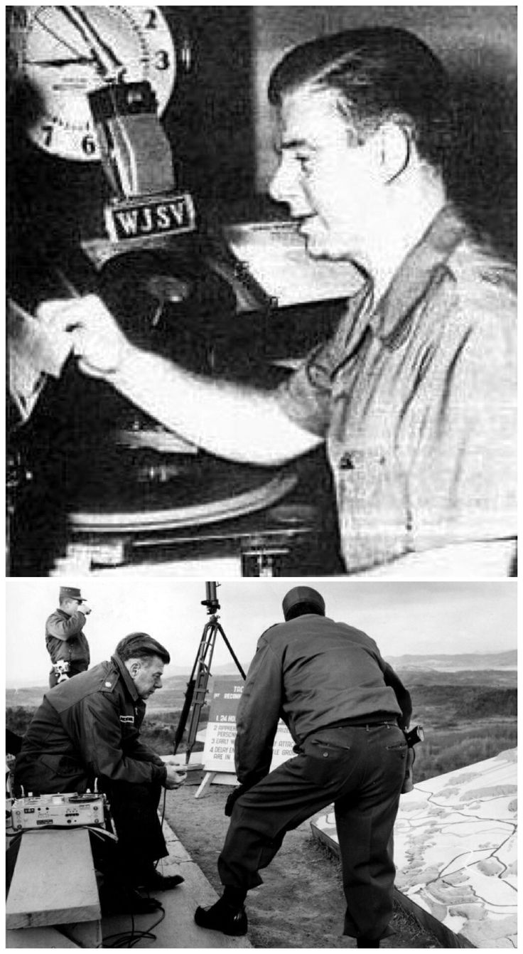 Arthur Godfrey served in the Navy, Coast Guard and Navy Reserves. Bottom photo shows him in Korea DMZ in 1960.