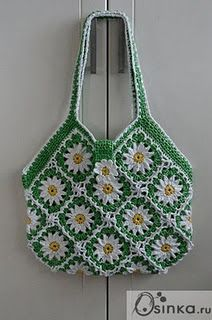granny square bag -- I'm in love. Great colors for a daisy square.