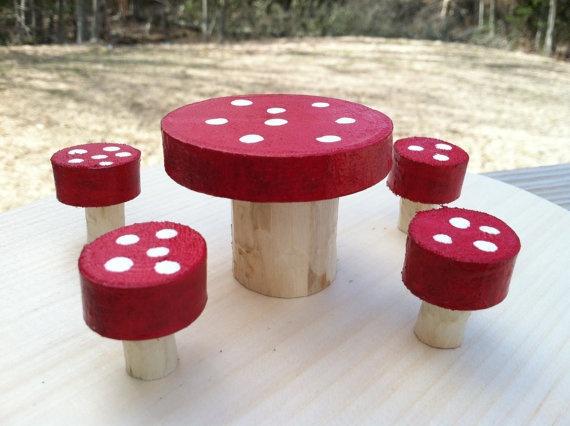 Fairy woodland mushroom table and stool set by LightofdayCreations, $10.00