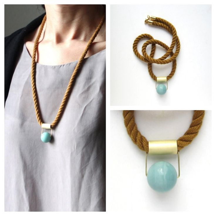 Cognac japanese mokuba cord necklace with one brass tube (mate finish) and amazonite stone