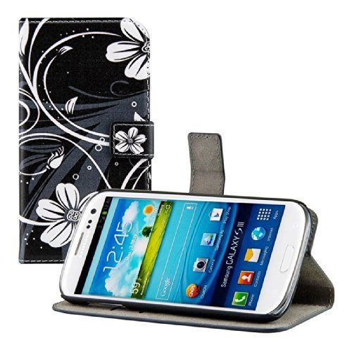 kwmobile® Custodia chic in pelle per Samsung Galaxy S3 i9300 / S3 Neo i9301 con pratica funzione di supporto - Fantasia floreale, colore Nero Bianco, http://www.amazon.it/dp/B00I471NKW/ref=cm_sw_r_pi_awdl_KsPSub00ATSP7