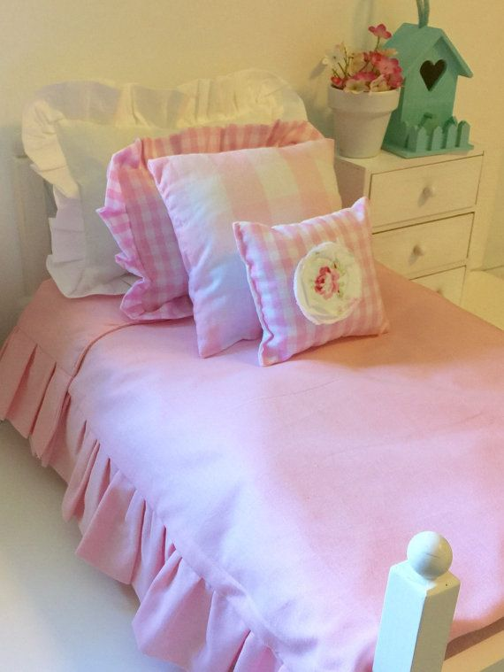 American Girl Pink and White gingham check American Girl Doll Bedding Set-18 inch doll size