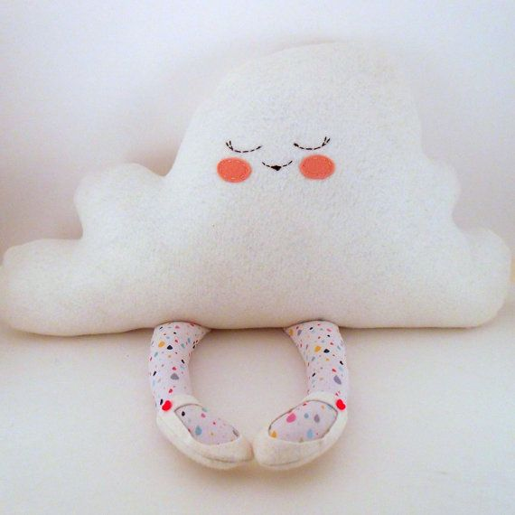 hug a cloud, plush, pillow, cloud doll with raindrop patterned legs, and heart buttons on Etsy, $30.00