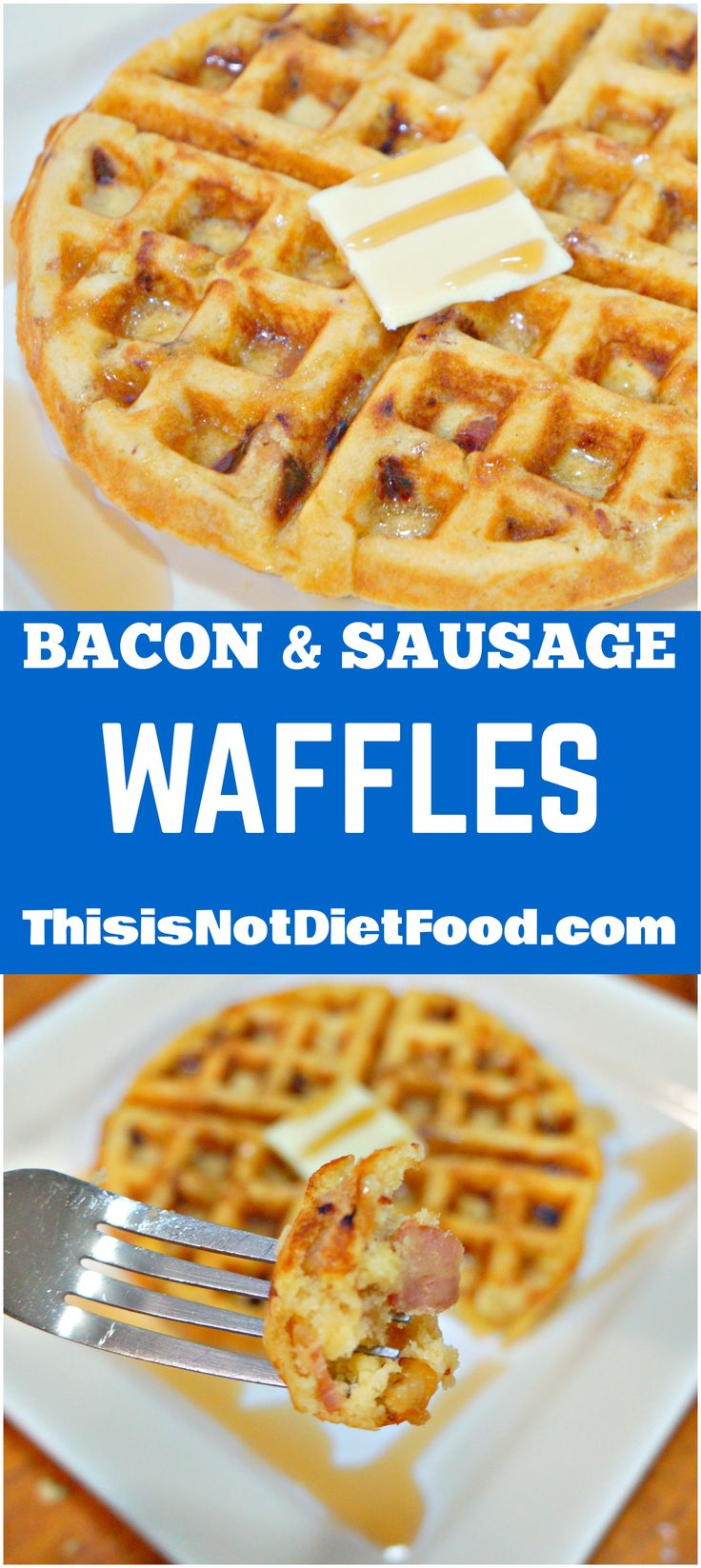 Bacon & Sausage Waffles. Easy breakfast recipe using boxed pancake and waffle mix.