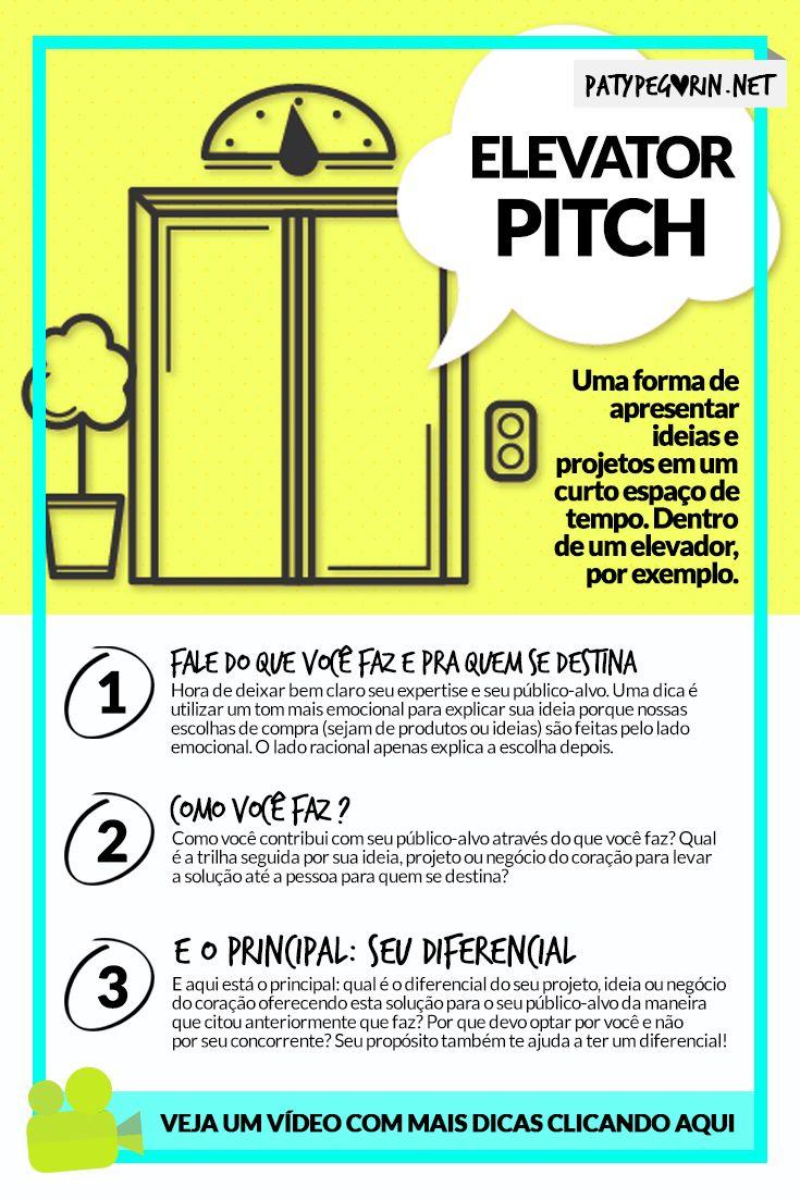 Elevator Pitch - Como montar o seu e não perder mais nenhuma oportunidade de utilizar o poder da palavra a favor do seu negócio do coração, projeto ou ideia Saiba mais em http://patypegorin.net/elevator-pitch/ ◄==