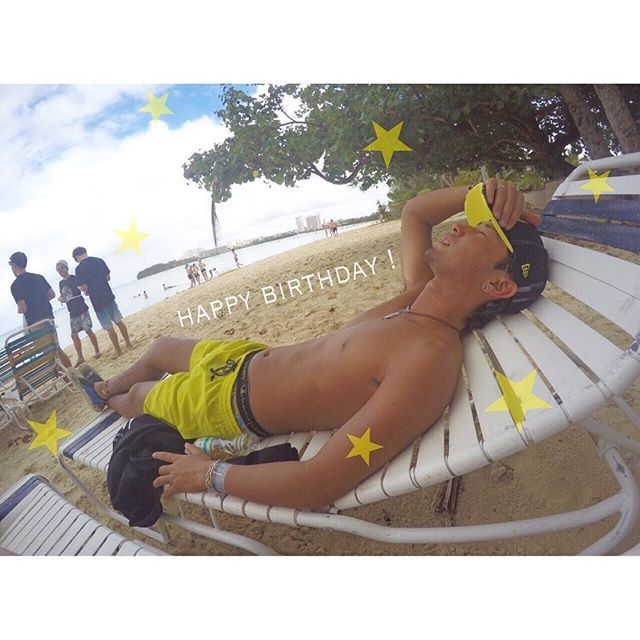 【chanruna__】さんのInstagramをピンしています。 《Birthday boy ⭐️⭐️⭐️ . #birthday  #21歳 #海 #gopro #hero4 #ゴープロ》