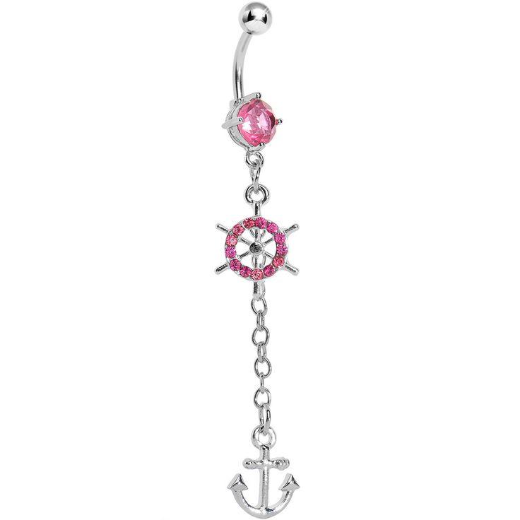 Pink Gem Ship Wheel Nautical Anchor Belly Ring