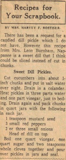 Sweet Dill Pickles Recipe Clipping, I would leave out the sugar and just have dill pickles...