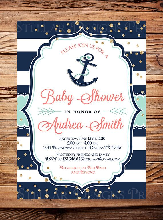 Mint Coral Nautical Baby Shower Invitation By StellarDesignsPro
