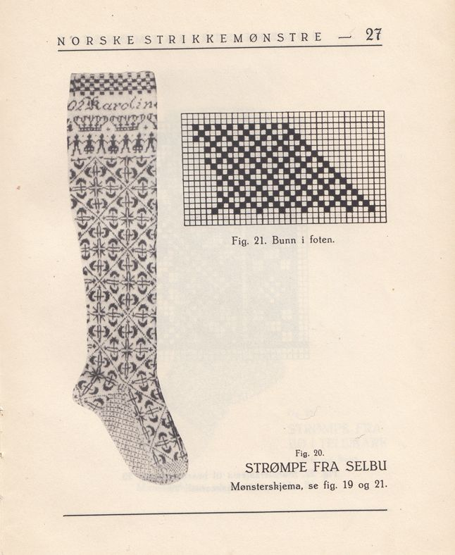 "Traditional Norwegian sock pattern from the book ""Norske strikkemønstre"", Norwegian knitting patterns by Annichen Sibern (later married Bøhm). First edition 1932"