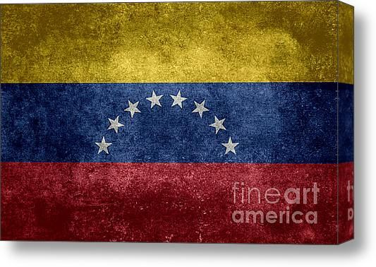 The National Flag Of The Bolivarian Republic Of Venezuela  Vintage Version Stretched Canvas Print / Canvas Art By Bruce Stanfield