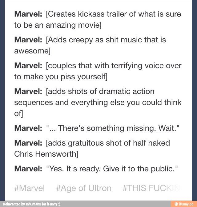 It's not a Marvel trailer without Chris Hemsworth half naked