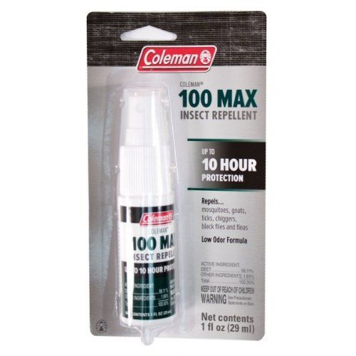 COLEMAN 100% DEET INSECT REPELLENT PUMP SPRAY by Wisconsin Pharmacal. $10.98. Repels mosquitoes that may carry west nile virus.. For severe conditions with heavy insect activity.. Also repels gnats, chiggers, ticks, black flies and fleas.. Provides longest protection available- up to 10 hours.. Active ingredients: deet.. Active ingredients: deet. Provides longest protection available- up to 10 hours. For severe conditions with heavy insect activity. Repels mosquitoes that may...
