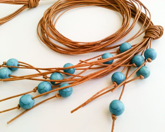 Turquoise blue beaded leather necklace for women, long boho multi strand fringe necklace lariat, ocean bohemian western jewelry, hippie chic