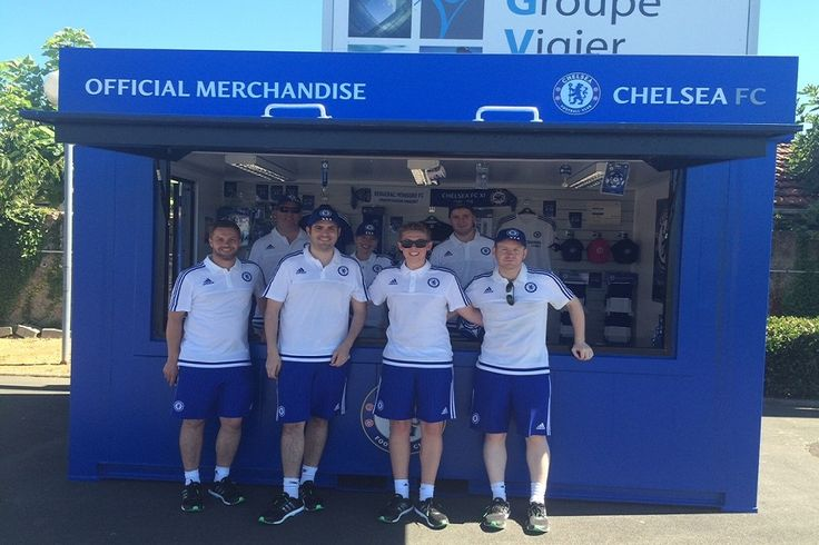 A modular retail unit, created for the Young Blues, Chelsea FC's Under-21s, accompanied the team to France for pre-season training and fixtures.