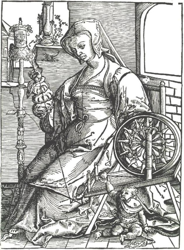 Young woman spinning. Lucas_van_Leyden c 1513. Dutch. Hand cranked Picardy spinning wheel.