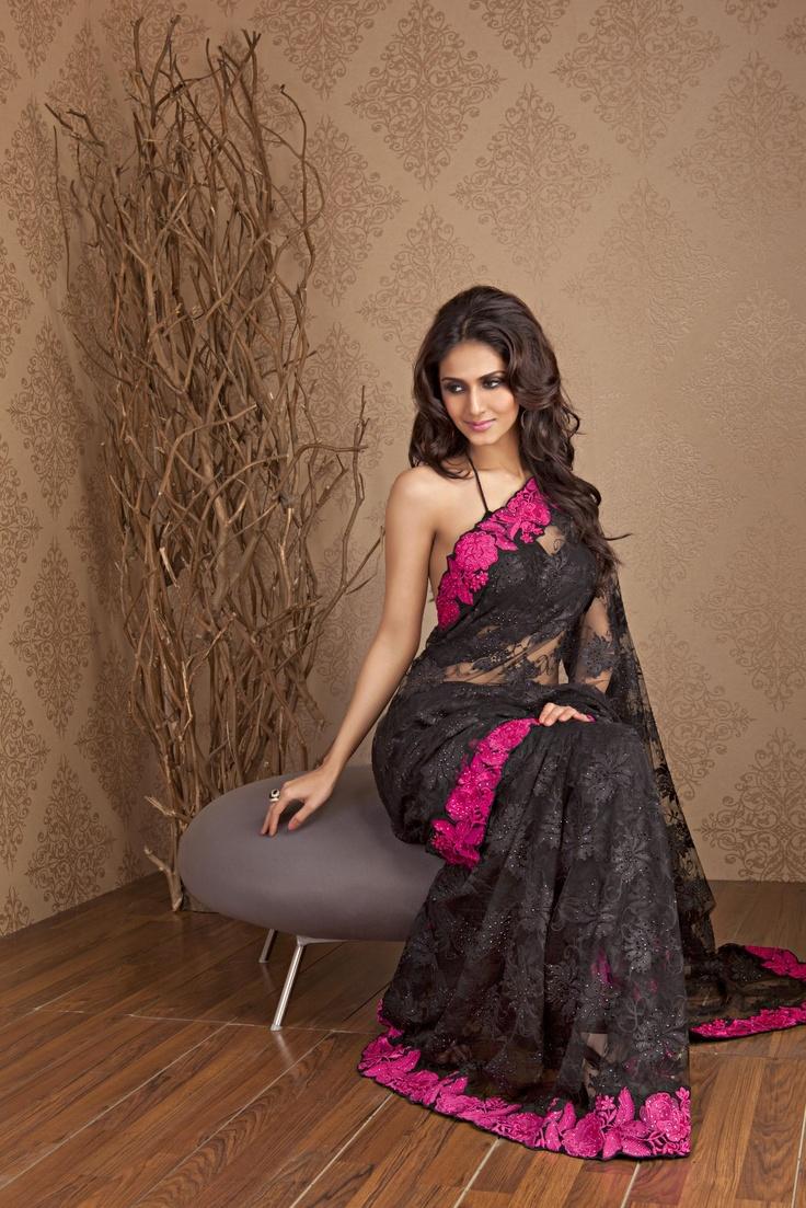 #1 bridesmaid saree choice Black Lace Saree with contrast border by Meena Bazaar http://www.meenabazaar.in/mbuser/ $286
