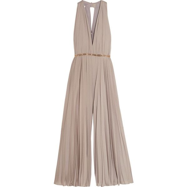 Halston Heritage Embellished pleated georgette jumpsuit ($790) ❤ liked on Polyvore featuring jumpsuits, dresses, romper, gowns, housut, brown, brown halter top, plunge jumpsuit, plunge halter top and halter romper jumpsuit