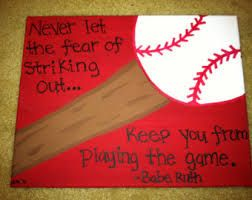 Softball or baseball quote put on a canvas
