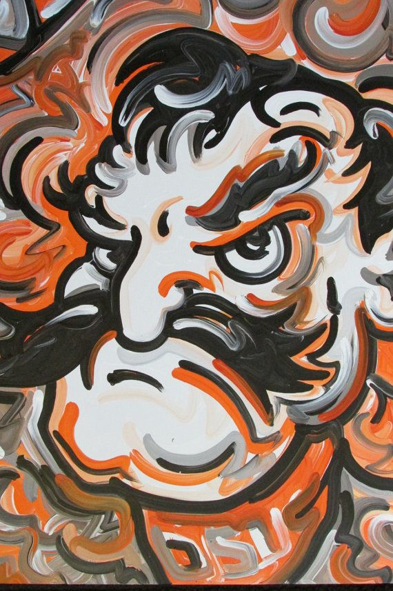 Officialy Licensed Oklahoma State University Pistol Pete Painting by Justin Patten #2015043 Sports Art College Baseball Foortball Basketball