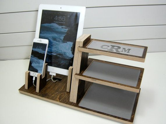 Charge phone & a tablet and organize your life in style with this wood docking station. Fits any smartphone and tablet or eReader on the market. -