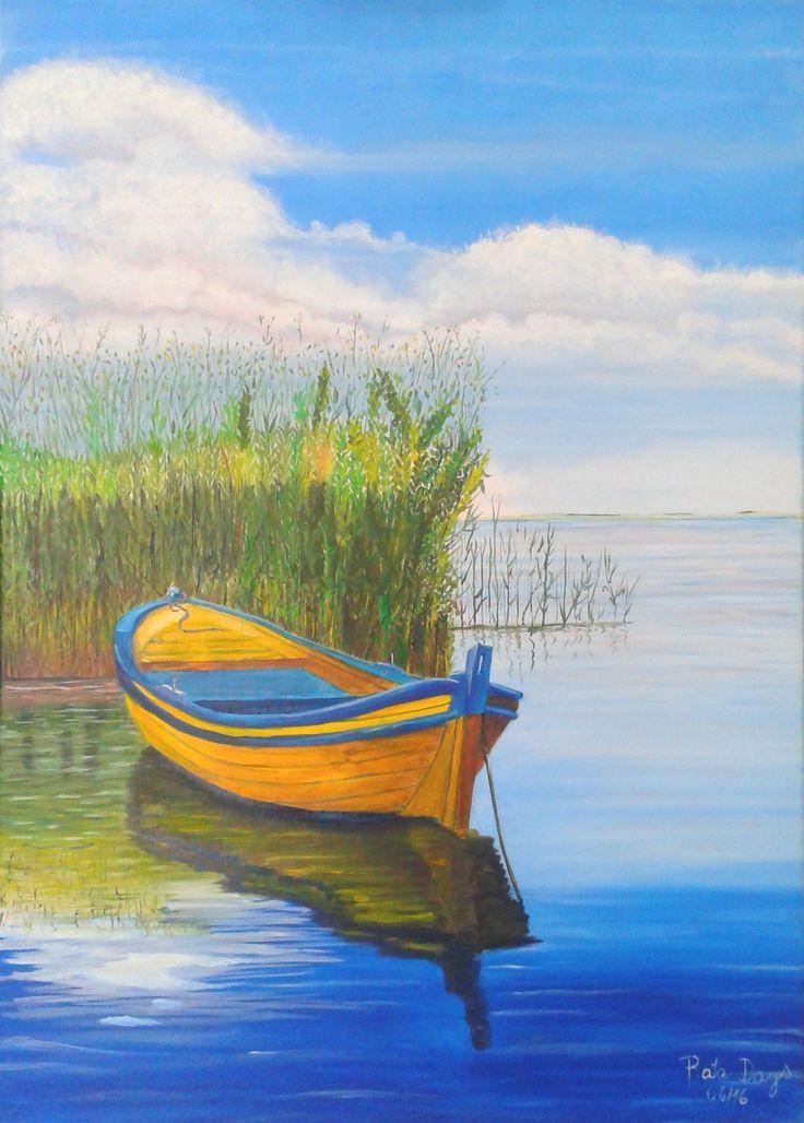 Ana María Diaz Bote amarillo óleo sobre tela 50 x 70 cms - (pintura original, inspirada en fotografía)