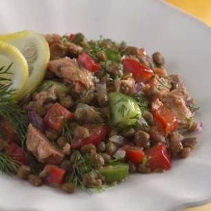 Lemony Lentil Salad with Salmon Recipe- This was REALLY GOOD! Actually cook the lentils and broil the salmon, no canned stuff.  I took out the cucumber and added some green onions and parsley.  Delicious!