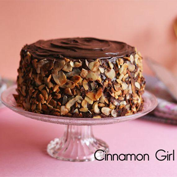 Tarta de mermelada de moras con ganache de chocolate y jarabe de arce