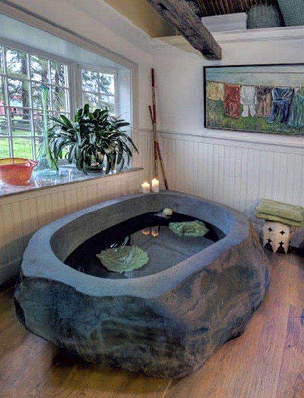 les 25 meilleures id es de la cat gorie baignoire en pierre sur pinterest d cor m di vale. Black Bedroom Furniture Sets. Home Design Ideas